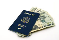 US passport and currency Stock Photo