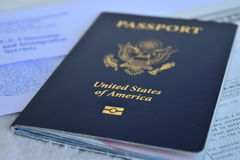 Us passport. Important document to travel around the world Royalty Free Stock Image