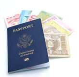 US passport and multinational currencies Stock Images