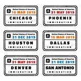US passport stamps. USA vector passport stamps collection: Chicago, Phoenix, Houston, Dallas, Denver and San Antonio stock illustration