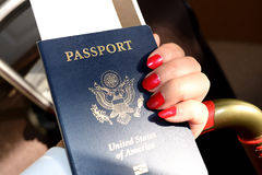 Us passport. When traveling between different countries, a passport is required to gain access and the country`s borders Stock Photo