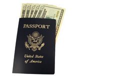 US passport and Twenty Dollar bills Stock Photos