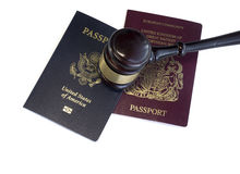US Passport,UK,EU Legal law concept image. Isolated against white Royalty Free Stock Photo