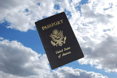US passport visa pages. Entrance and exit stamps on US passport Stock Image
