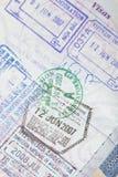 US Passport Visas Stamps Stock Photo