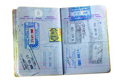 US Passport on White. Inside pages and stamps of a well used American passport isolated on white Stock Images