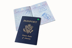 US Passports and VISAs. US Passports with Visa stamps from Tahiti isolated on white background Royalty Free Stock Photo