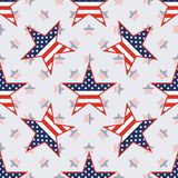 US patriotic stars seamless pattern on american. US patriotic stars seamless pattern on american stars background. American patriotic wallpaper with US Royalty Free Stock Photography