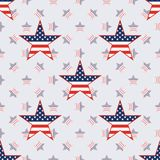 US patriotic stars seamless pattern on american. US patriotic stars seamless pattern on american stars background. American patriotic wallpaper. Wrapping Stock Images