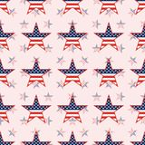US patriotic stars seamless pattern on national. US patriotic stars seamless pattern on national stars background. American patriotic wallpaper. Continuos Stock Images