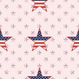 US patriotic stars seamless pattern on national. US patriotic stars seamless pattern on national stars background. American patriotic wallpaper with US Stock Image