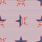 US patriotic stars seamless pattern on red and. US patriotic stars seamless pattern on red and blue diagonal stripes background. American patriotic wallpaper Stock Photos
