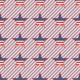 US patriotic stars seamless pattern on red and. US patriotic stars seamless pattern on red and blue stripes background. American patriotic wallpaper with US Royalty Free Stock Image