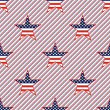 US patriotic stars seamless pattern on red and. US patriotic stars seamless pattern on red and blue stripes background. American patriotic wallpaper. Repeated Royalty Free Stock Image