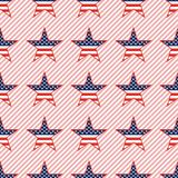 US patriotic stars seamless pattern on red. US patriotic stars seamless pattern on red stripes background. American patriotic wallpaper with US patriotic stars Royalty Free Stock Photo