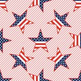 US patriotic stars seamless pattern on red. US patriotic stars seamless pattern on red stripes background. American patriotic wallpaper with US patriotic stars Royalty Free Stock Image