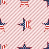 US patriotic stars seamless pattern on red. US patriotic stars seamless pattern on red stripes background. American patriotic wallpaper with US patriotic stars Royalty Free Stock Images