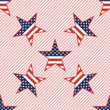 US patriotic stars seamless pattern on red. US patriotic stars seamless pattern on red stripes background. American patriotic wallpaper with US patriotic stars Stock Photography