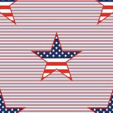US patriotic stars seamless pattern on red and. US patriotic stars seamless pattern on red and blue diagonal stripes background. American patriotic wallpaper Royalty Free Stock Photo