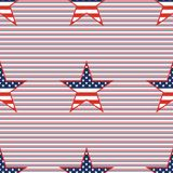 US patriotic stars seamless pattern on red and. US patriotic stars seamless pattern on red and blue diagonal stripes background. American patriotic wallpaper Stock Photo