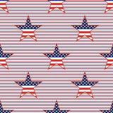 US patriotic stars seamless pattern on red and. US patriotic stars seamless pattern on red and blue diagonal stripes background. American patriotic wallpaper Stock Photography
