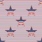 US patriotic stars seamless pattern on red and. US patriotic stars seamless pattern on red and blue diagonal stripes background. American patriotic wallpaper Royalty Free Stock Images