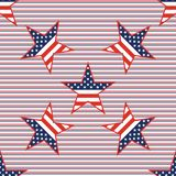 US patriotic stars seamless pattern on red and. US patriotic stars seamless pattern on red and blue diagonal stripes background. American patriotic wallpaper Stock Image
