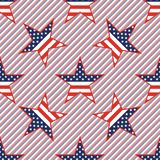 US patriotic stars seamless pattern on red and. US patriotic stars seamless pattern on red and blue stripes background. American patriotic wallpaper with US Stock Photos