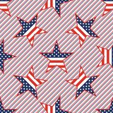 US patriotic stars seamless pattern on red and. US patriotic stars seamless pattern on red and blue stripes background. American patriotic wallpaper with US Stock Image