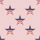 US patriotic stars seamless pattern on red. US patriotic stars seamless pattern on red stripes background. American patriotic wallpaper. Wrapping pattern vector Royalty Free Stock Photography