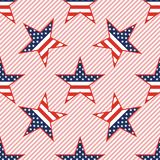 US patriotic stars seamless pattern on red. US patriotic stars seamless pattern on red stripes background. American patriotic wallpaper with US patriotic stars Royalty Free Stock Photography