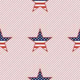 US patriotic stars seamless pattern on red. US patriotic stars seamless pattern on red stripes background. American patriotic wallpaper with US patriotic stars Stock Photos