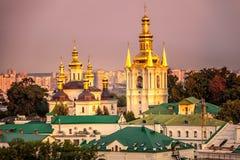Kiev Pechersk Lavra. Us Pechersk Lavra Monastery shot at sunset in Kiev, Ukraine Royalty Free Stock Images