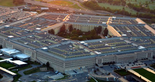 US Pentagon at sunset. US pentagon building aerial view at sunset