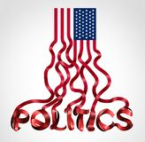 US Politics. And United States government political symbol as an American flag shaped as text as a creative icon for conservative republican and liberal vector illustration