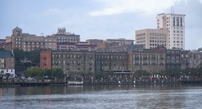 Stately Architecture and Buidlings Line the Waterfront in Savannah Georgia. The US port city of Mobile has a busy port on Alabama's gulf coast and a clean stock photography