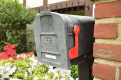 US Post Mail Letter Box with Red Flag royalty free stock photography