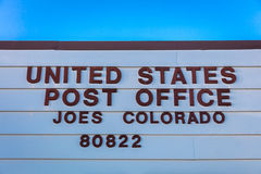US Post Office in Joes Colorado, 80822 Zip Code, a small town off Highway 36, Eastern Colorado Royalty Free Stock Photography