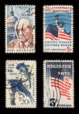 US Postage. Most used US Postages (isolated on black royalty free stock photo