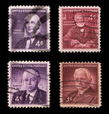 US Postage. Important American People (isolated on black background royalty free stock photo