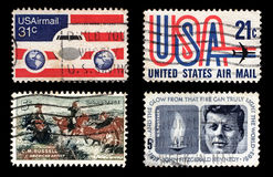 US Postage. Most used US Postages (isolated on black stock photography