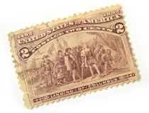 US Postage Stamp. Old US postage stamp with the landing of Columbus Stock Photos