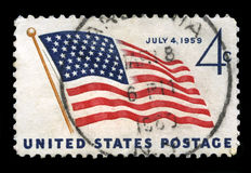 US Postage Stamp Depicting the 49 Star USA Flag Royalty Free Stock Photo