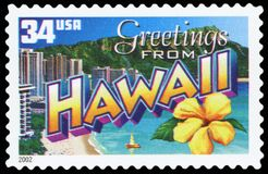 US Postage Stamp. Greetings from HAWAII stock photos
