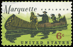 US Postage stamp. Marquette explorer Stock Photos