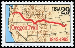 US Postage Stamp. Oregon Trail Stock Photo