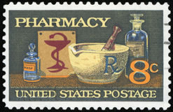 US Postage stamp. PHARMACY & x28;High Quality& x29 royalty free stock photos