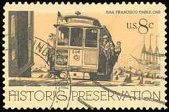 US Postage stamp. San Francisco cable car royalty free stock images