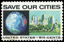 US Postage Stamp. Save Our Cities Royalty Free Stock Images