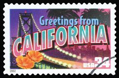 US Postage Stamp. UNITED STATES – CIRCA 2002: A postage stamp printed in USA showing an image of California state, circa 2002 royalty free stock photos